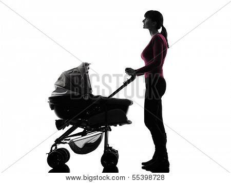 one caucasian woman prams baby looking up  silhouette  on white background