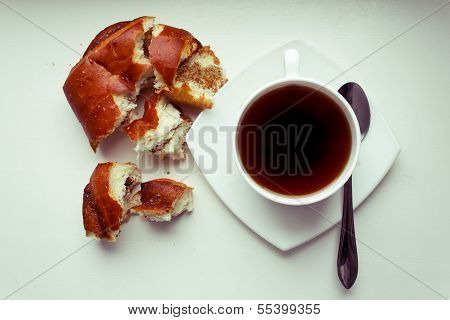 Coffee Cup And Bread Roll