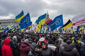 People And Flags At Meeting In Kiev