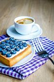 image of sponge-cake  - Sponge cake decorated with blueberry and jelly - JPG
