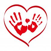Man's And Woman's Red Handprints In A Heart On White Background