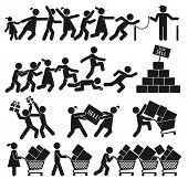 stock photo of going out business sale  - MEN AND WOMEN GO SHOPPING ON BLACK FRIDAY - JPG