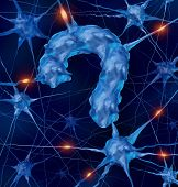 picture of neurology  - Neurology questions medical concept with active human neurons shaped as a question mark as a metaphor for scientific research into the brain and neurological diseases as parkinsons alzhiemers autism dementia as part of the nervous system anatomy - JPG
