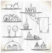 stock photo of buffet catering  - Graphic illustration with catering symbols on a paper - JPG