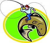 stock photo of fly rod  - Illustration of a fly fisherman holding rod and reel riding trout fish set inside oval shape done in cartoon style on isolated background - JPG