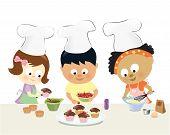 ������, ������: Kids baking cupcakes