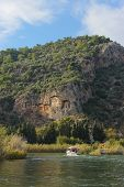 picture of dalyan  - View from the rock tombs of Dalyan and river Turkey Mugla - JPG