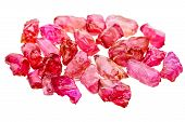 picture of crystal glass  - A pile of red uncut and rough ruby crystals - JPG