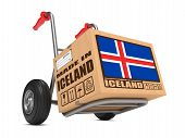 Made in Iceland - Cardboard Box on Hand Truck.