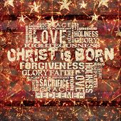 pic of holy family  - Religious Words on Grunge Background