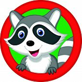 stock photo of raccoon  - Vector illustration of Cute raccoon cartoon posing - JPG