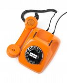 pic of bakelite  - orange rotary phone on white background  - JPG