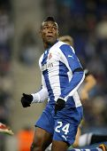 BARCELONA - NOV, 30: Jhon Cordoba of RCD Espanyol during a Spanish League match against Real Socieda