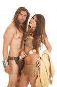 picture of loincloth  - A couple in their loincloth clothing standing close together - JPG