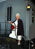 pic of caboose  - Retired nurse models her  - JPG