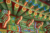 stock photo of gazebo  - Fragment of decoration materials of traditional Korean garden gazebos - JPG
