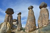 image of chimney rock  - These Fairy Chimneys rock formation are situated nearly Goreme in Cappadocia  - JPG