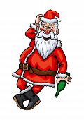 stock photo of debauchery  - Illustration drunk Santa Claus with bottle in his hand - JPG