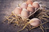 stock photo of fragile  - Fresh organic eggs on dark background - JPG