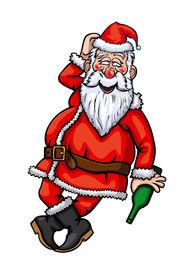 pic of debauchery  - Illustration drunk Santa Claus with bottle in his hand - JPG