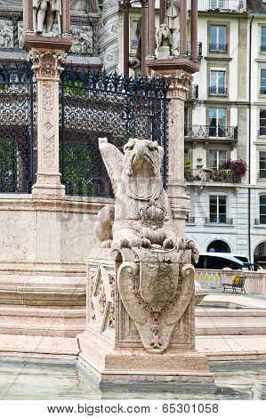 Geneva. Griffin Near The Mausoleum In Honor Of Duke Charles Of Brunswick