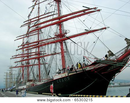 Sailship  Sedov  in port of  Sochi.