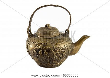 Isolated Antique Chinese Bronze Teapot Handle Up