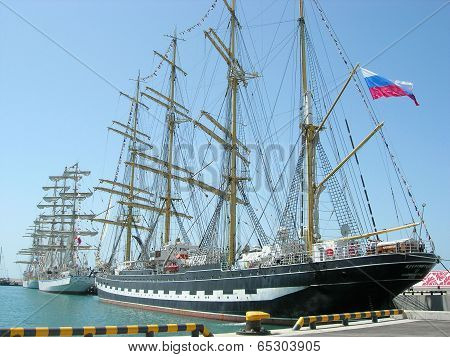 Sailship  Kruzenshtern and other sailships in port of  Sochi .