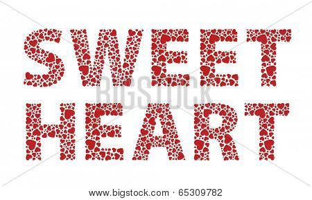 Sweetheart red love hearts text