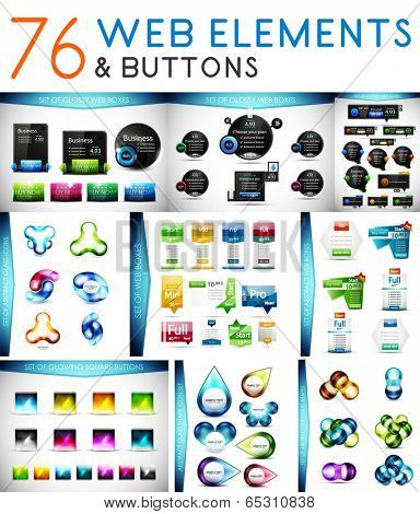 Mega set of vector web elements: banners, buttons, price tables.