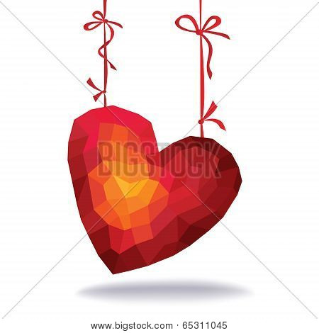 Abstract Triangles - Polygons Red Heart Hanging On Ribbons
