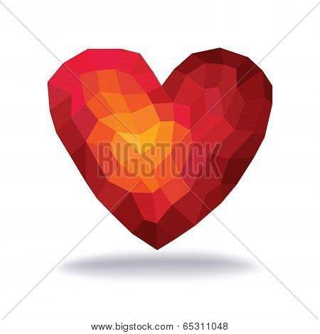 Abstract Triangles - Polygons Red Heart In White Background