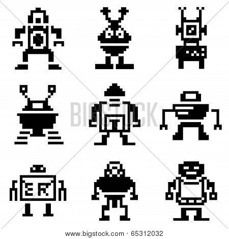 pixel robot icons set