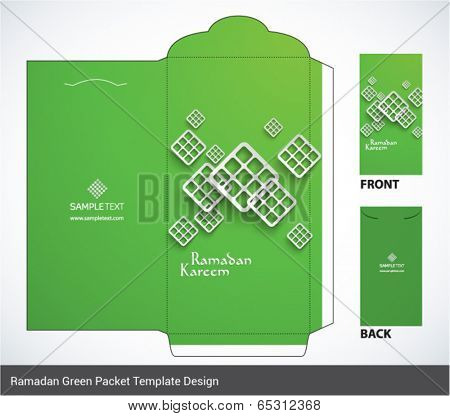 Vector Muslim Ketupat Elements Ramadan Money Green Packet Design. Translation: Ramadan Kareem - May Generosity Bless You During The Holy Month.