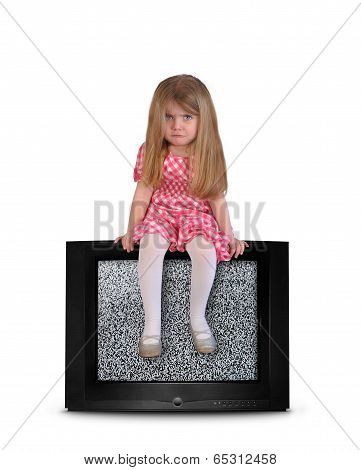 Upset Child Sitting On Blank Television