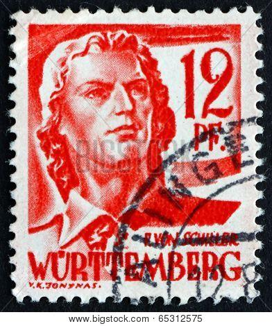 Postage Stamp Wurttemberg, Germany 1948 Friedrich Von Schiller