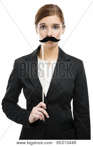 Beautiful blonde woman with a fake moustache