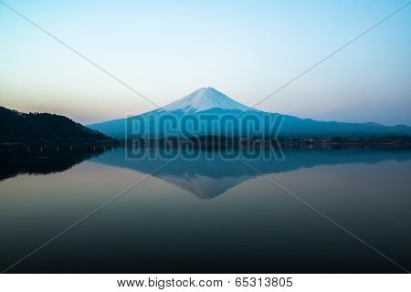 inverted image of Mt  Fuji, View from lake Kawaguchi