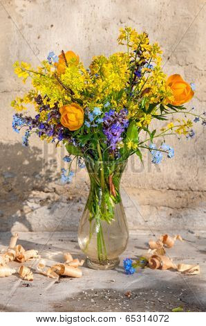 Yellow Spring Flowers Still Life Bouquet