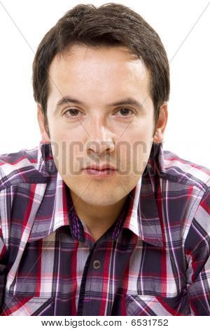 Close-up Of A Casual Man Portrait - Isolated Over A White Background