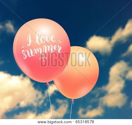 Colorful Balloons on Blue Sky with Clouds. Blurred Landscape Background
