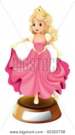 Illustration of a princess with a pink gown on a white background