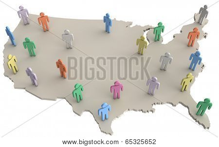 Group of people on map of United States as population voters consumers social data
