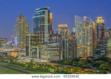 Modern Commercial City (bangkok) In Night