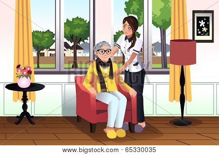 Woman Taking Care Of A Senior Lady