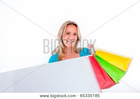 female after shopping hour smiling