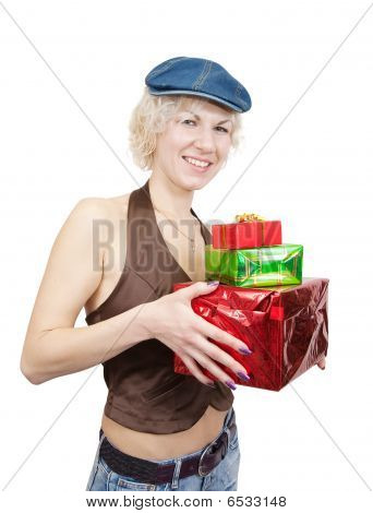 Happy Girl With Gifts