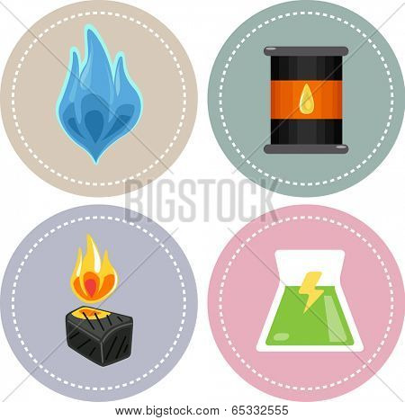 Icon Illustration Featuring Sources of Non-renewable Energy (natural gas, oil, coal and nuclear)