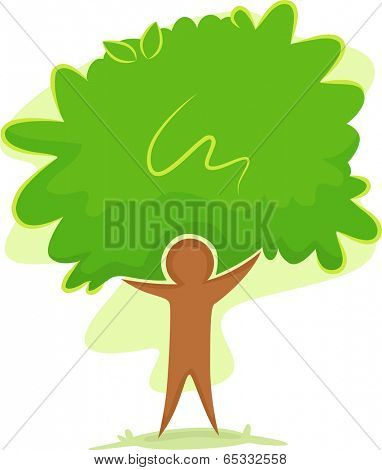 Icon Illustration Featuring the Outline of a Man Standing in Front of a Tree