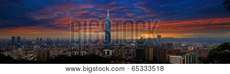 Skyline of Xinyi District in Taipei